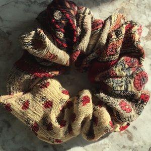 Hippie floral paisley scrunchie Christmas bun VSCO